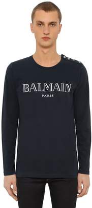 Balmain Logo Cotton Jersey Long Sleeve T-Shirt
