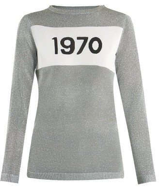 Bella Freud 1970 Intarsia Knit Sweater - Womens - Silver