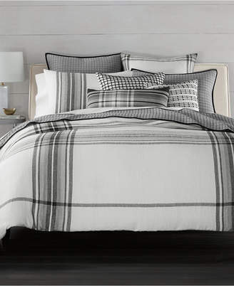 Hotel Collection Closeout! Linen Plaid King Duvet Cover, Created for Macy's Bedding