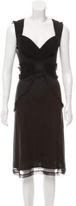 CNC Costume National Silk Midi Dress Black Silk Midi Dress