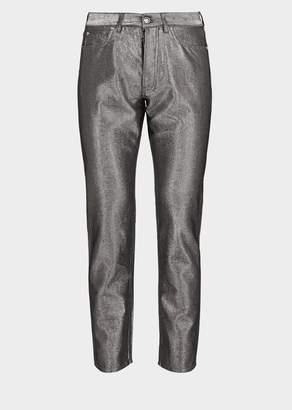 Versace Silver Denim Thread Pants