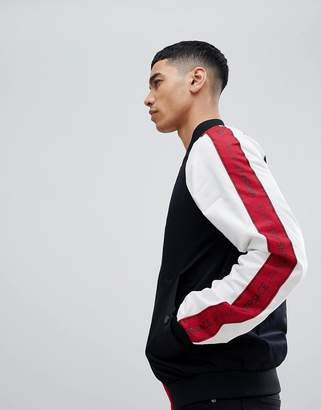 Versace Bomber Jacket With Red Logo Taping
