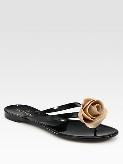 Valentino Rose Jelly Thong Sandals