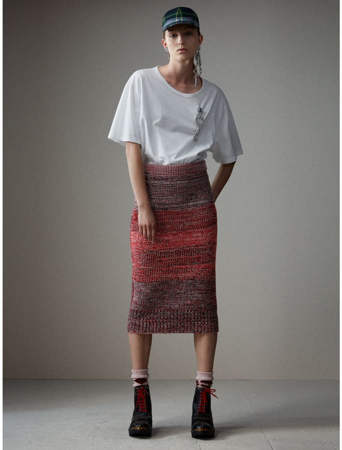 Burberry Cashmere Cotton Wool Blend Mouliné Skirt