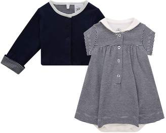 Petit Bateau Striped Bodysuit and Cardigan Set