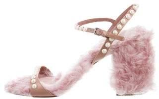 Miu Miu 2017 Shearling Faux Pearl-Accented Sandals