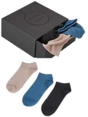 Nümph Womens Glitter 3-Pack Ankle Socks Box