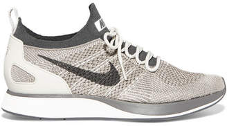 Nike Air Zoom Mariah Leather-trimmed Metallic Flyknit Sneakers - Light gray