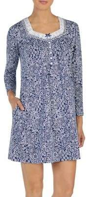 Aria Floral Long-Sleeve Short Nightgown