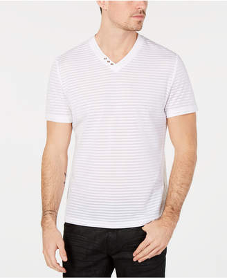 INC International Concepts I.n.c. Men's V-Neck Sheer Striped T-Shirt