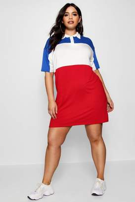boohoo Plus Stripe Polo Shirt Dress