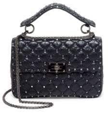 Valentino Medium Rockstud Stitched Crinkled Leather Chain Shoulder Bag