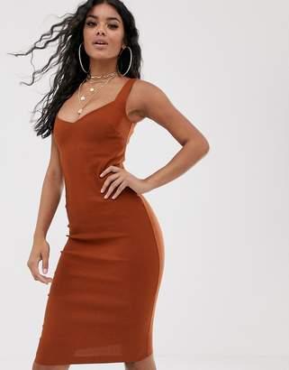 Vesper midi pencil dress with deep neck in rust