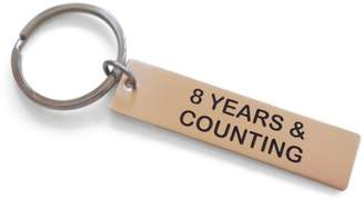 "JewelryEveryday Tag Keychain Engraved with ""8 Years & Counting""; 8 Year Anniversary Keychain"
