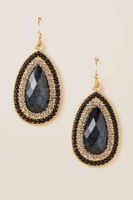 francesca's Lisa Shimmer Teardrop Earrings - Black
