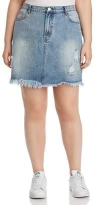 Glamorous CURVY Distressed Acid-Washed Denim Skirt
