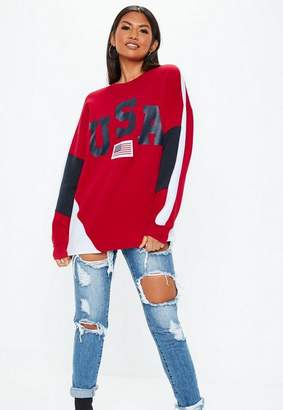 Missguided Red USA Colour Block Sweatshirt