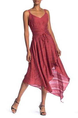 BCBGMAXAZRIA Corset Lace-Up Asymmetrical Dress