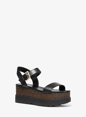 Michael Kors Marlon Leather And Logo Flatform Sandal
