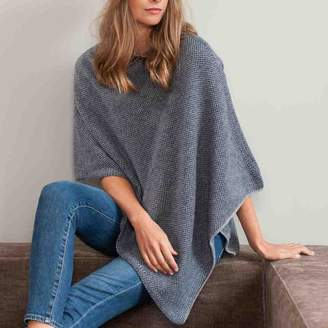 Black Navy and Grey Knitted Cashmere Poncho