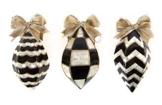 Mackenzie Childs Black & White Teardrop Christmas Ornaments, Set of 3