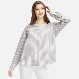Uniqlo WOMEN Premium Linen Skipper Collar Long Sleeve Shirt
