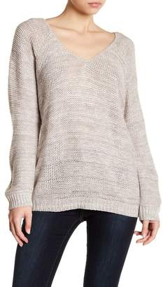 Susina Deep V-Neck Strap Back Sweater