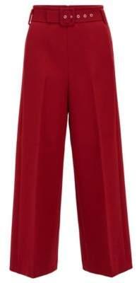 BOSS Hugo Cropped wide-leg pants in bonded micro fabric 6 Dark Red