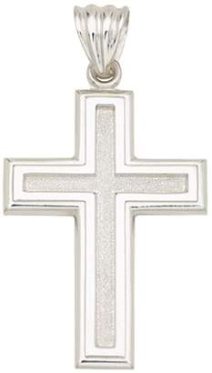 Sterling Textured & Polished Classic Cross Pendant