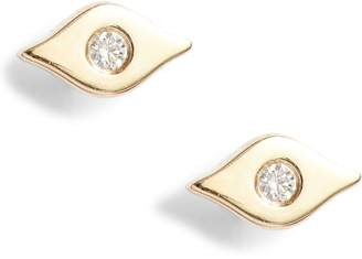 Ef Collection Evil Eye Center Diamond Stud Earrings