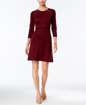 Nine West Zip-Shoulder A-Line Sweater Dress $79 thestylecure.com