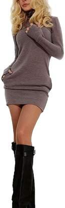 Vosujotis Womens Bodycon Dress High Neck Long Sleeve Slim Mini Sweatshirts Grey M