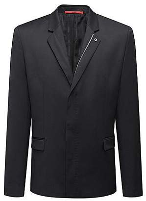 HUGO BOSS Regular-fit jacket in virgin wool with zip closure