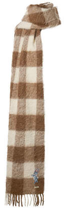 Gucci Fringed Checked Knitted Scarf - Brown