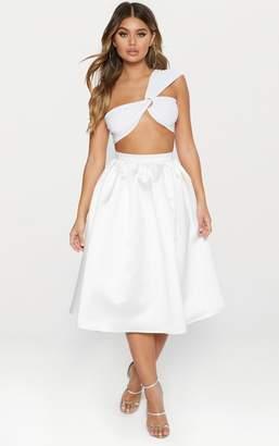 PrettyLittleThing White Satin Full Midi Skirt