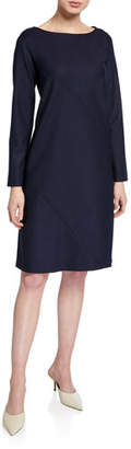 Piazza Sempione Long-Sleeve Seamed Shift Dress