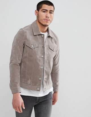 Celio Faux Suede Collar Jacket In Stone