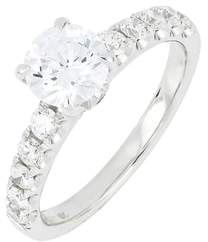 Bony Levy Cubic Zirconia Pave Solitaire Ring
