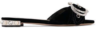 Miu Miu - Embellished Velvet Slides - Black