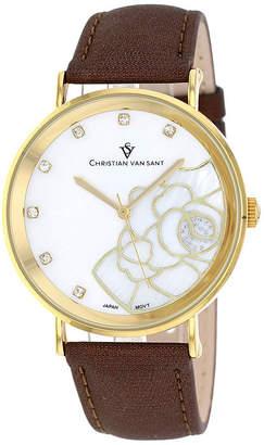 Mother of Pearl CHRISTIAN VAN SANT Christian Van Sant Fleur Womens Mother-of-Pearl Brown Leather Bracelet Watch