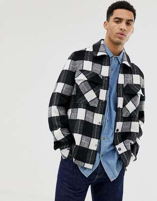 Asos Design DESIGN unlined wool mix jacket in black and white check