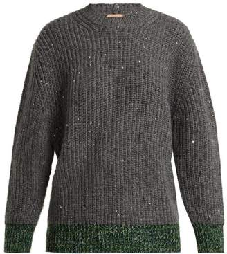 No.21 No. 21 - Sequin Embellished Wool Blend Sweater - Womens - Green