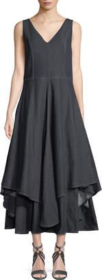 Brunello Cucinelli V-Neck Sleeveless Flounce-Hem Denim Dress w/ Contrast Stitching