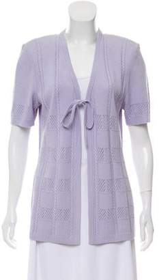 St. John Short Sleeve Open Knit Cardigan
