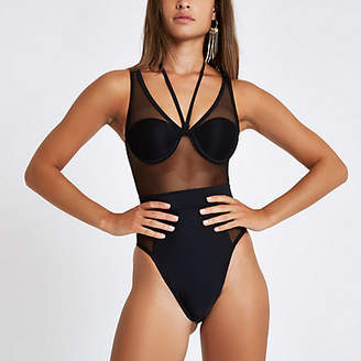 River Island Black mesh high leg swimsuit
