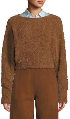 Vince Teddy Cropped Boat-Neck Wool-Blend Sweater