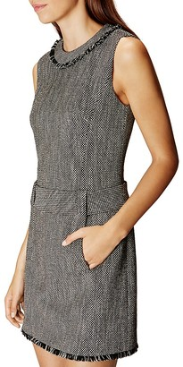 KAREN MILLEN Fringe-Trim Tweed Dress $360 thestylecure.com