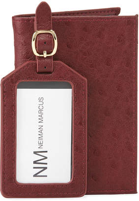 Neiman Marcus Ostrich-Print Faux Leather Passport Cover & Luggage Tag Set