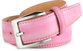Pakerson Men's Pink Hand Painted Italian Leather Belt
