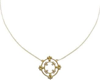"Judith Ripka 14K Gold & Diamond 16"" Adj. Pendant Necklace"